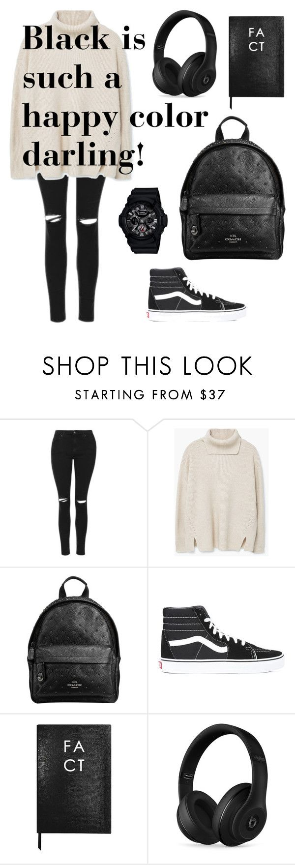 """Black is such a happy color darling!"" by arrummustika on Polyvore featuring Topshop, MANGO, Coach, Vans, Sloane Stationery, Beats by Dr. Dre and Baby-G"