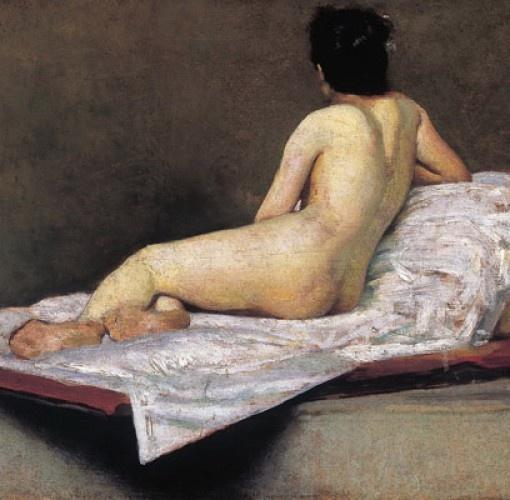 """Giovanni Fattori (Livorno 1825 - Firenze 1908),  Nudo femminile, La modella detta """"La Nordica"""" (particolare), 1890 ca., olio su tavola, cm 24,6x40,2. Firenze, Collezione privata"""