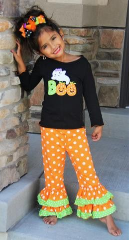 BOUTIQUE OUTFIT- BOO ORANGE POLKA DOT OUTFIT