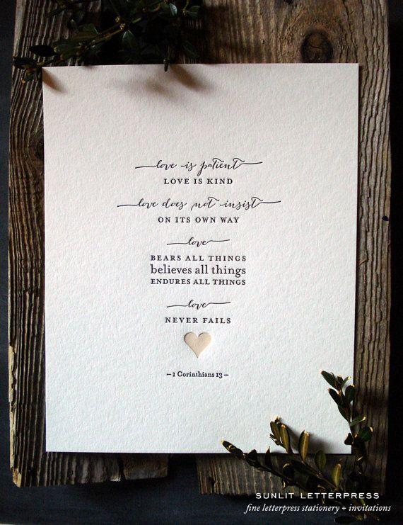 "Letterpress Wedding Art Print  ""Love Is""  – Corinthians Bible Verse, Quote - Love Never Fails, Corinthians 1:13 Christian Gift 8"" x 10"""