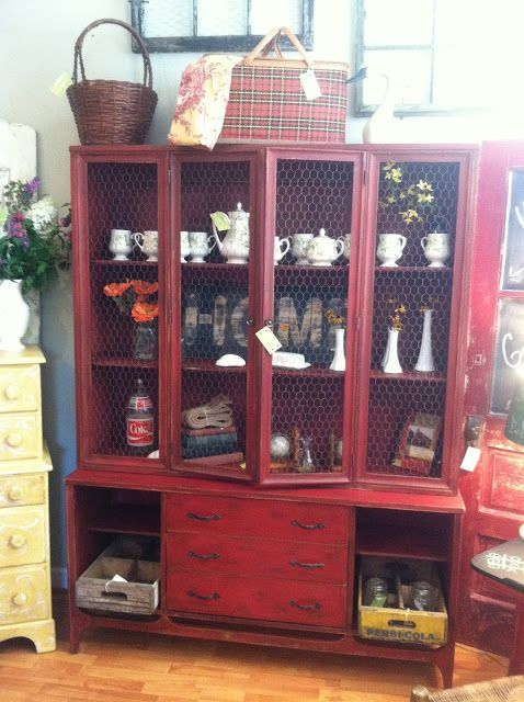 Mid Century China Cabinet Painted