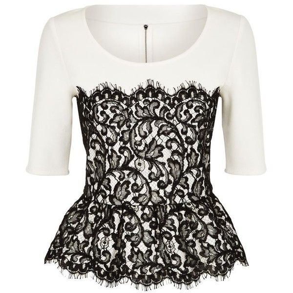 St. John Peplum Lace Top (€960) ❤ liked on Polyvore featuring tops, shirts, blusas, white shirt, lace shirt, cream lace shirt, shirts & tops and lace top