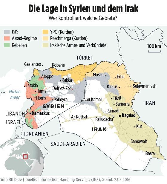 Karte: Die Lage in Syrien und Irak (Stand:23.5.2016) - Infografik