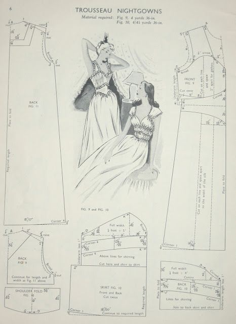 Free Vintage Nightgown Sewing Draft Pattern