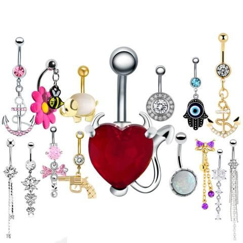 1PC Steel Belly Button Rings Crystal Piercing Nombril Navel Piercing Navel Earring Gold Belly Piercing Sex Body Jewelry Pircing