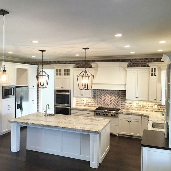 Best 25 big kitchen ideas on pinterest big homes dream for Large kitchen designs photos