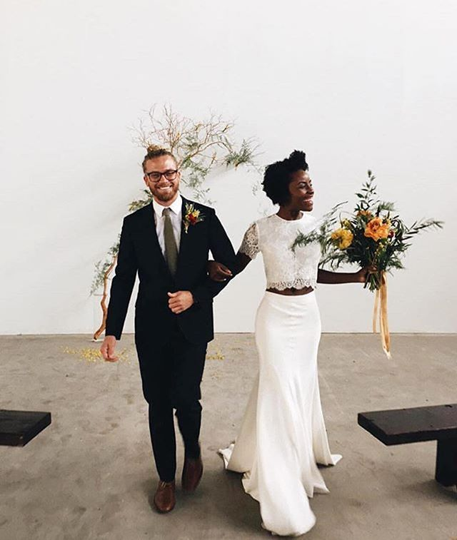 Beautiful interracial couple starting their own happily ever after #love #wmbw #bwwm.   I really like her dress choice!!