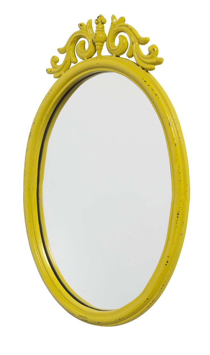 Baroque yellow bathroom mirror. Find mirrors at thrift stores & boutiques and paint to match your decor.