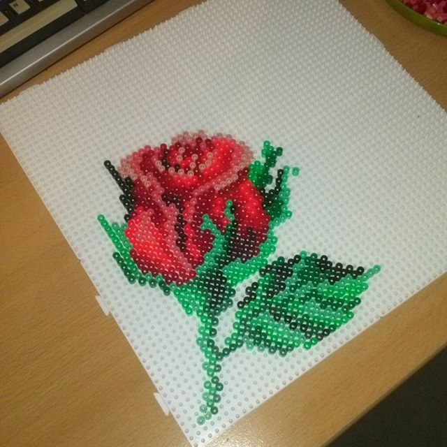 Rose flower perler beads by sandrine_isabelle_lange