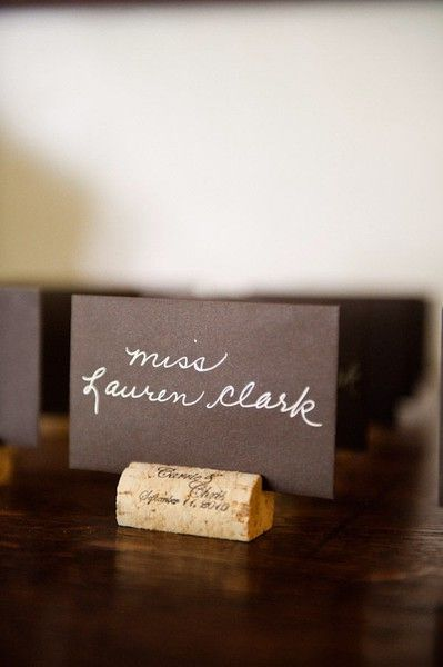 diy wine cork place card holders -this would be great for a buffet food label too.