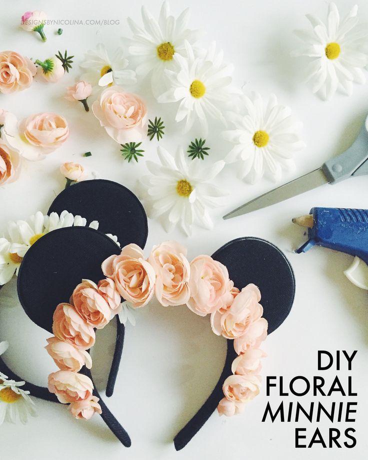 diy floral minnie ears  so cute   u2661 pinterest    1kco0zwe8r4mzzk