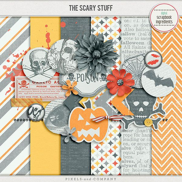Quality DigiScrap Freebies: The Scary Stuff mini kit freebie from Digital Scrapbook Ingredients