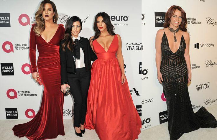 """Fiestas post-Oscar: Khloe, Kourtney y Kim Kardashian no quisieron perderse la fiesta, al igual que Britney Spears, que lució un vestido negro con escote en forma de """"v"""" y el pelo cobrizo"""