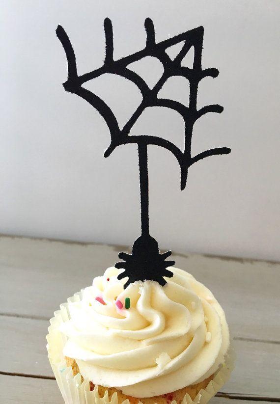 Halloween Cupcakes Toppers: Halloween Cupcake Toppers Spider Cupcake Toppers By