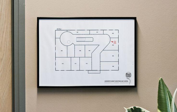 Para que te orientes, el hotel gay 'Black Tulip', de Amsterdam, te muestra así su plano de habitaciones (publi by EuroRSCG).
