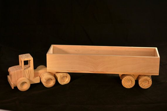 Wooden Toy Parts Catalog : Wooden toy tractor trailer truck with kids