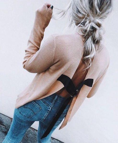 asos open back sweater + levis wedgie jeans