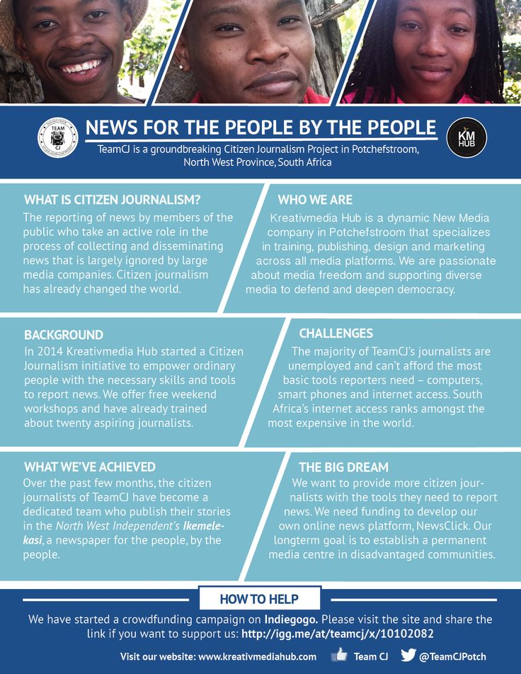 TeamCJ - News for the people by the people. The development of Citizen Journalism in Potchefstroom, South Africa. How you can help.