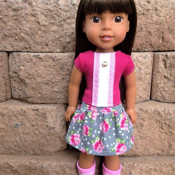 Girl Doll Clothes 14.5 inch 14 inch/Handmade Doll Outfit/American Made/Gift for Girl or Doll Collector/roses skirt pink white knit shirt