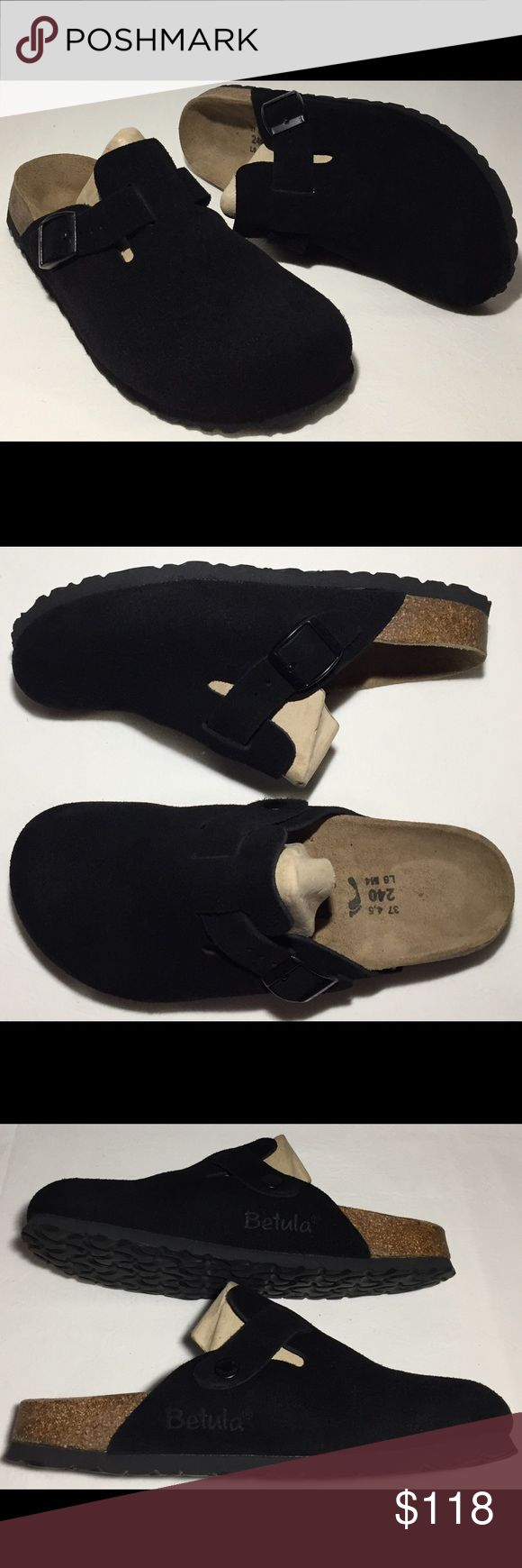 BIRKENSTOCK BOSTON Black Suede Clogs 37 6 BIRKENSTOCK BOSTON Black Suede Clogs Size 37 ( US 6 Narrow ) Birkenstock shoes fit different then your average shoe. I wear a size 6M but these wear too big they are more like a size 7M - 7.5M Birkenstock Shoes Mules & Clogs