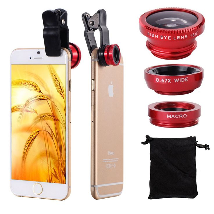 $5.49 to buy High Quality Clip Fish Eye Wide Angle Macro Fisheye Mobile Phone Lens camera lenses Universal 3 in 1 For iPhone 6 5C Samsung HTC