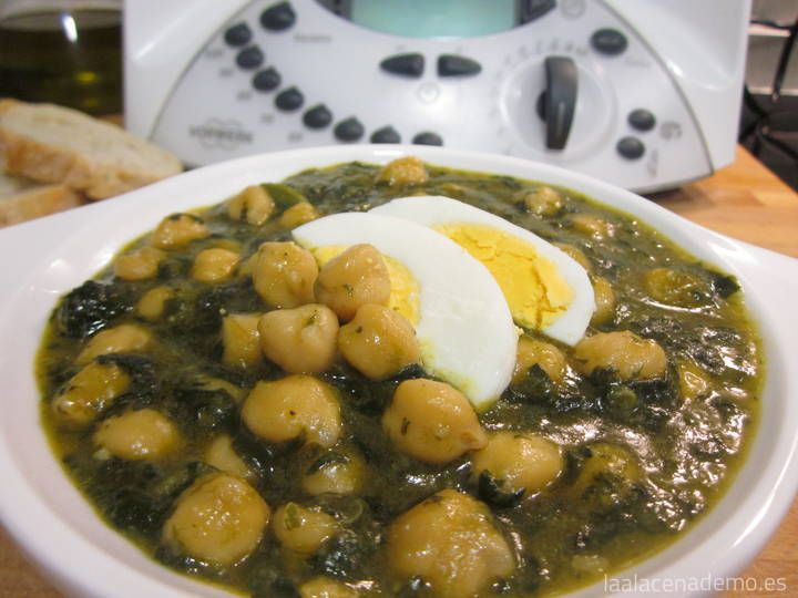 Potaje de espinacas con garbanzos Thermomix