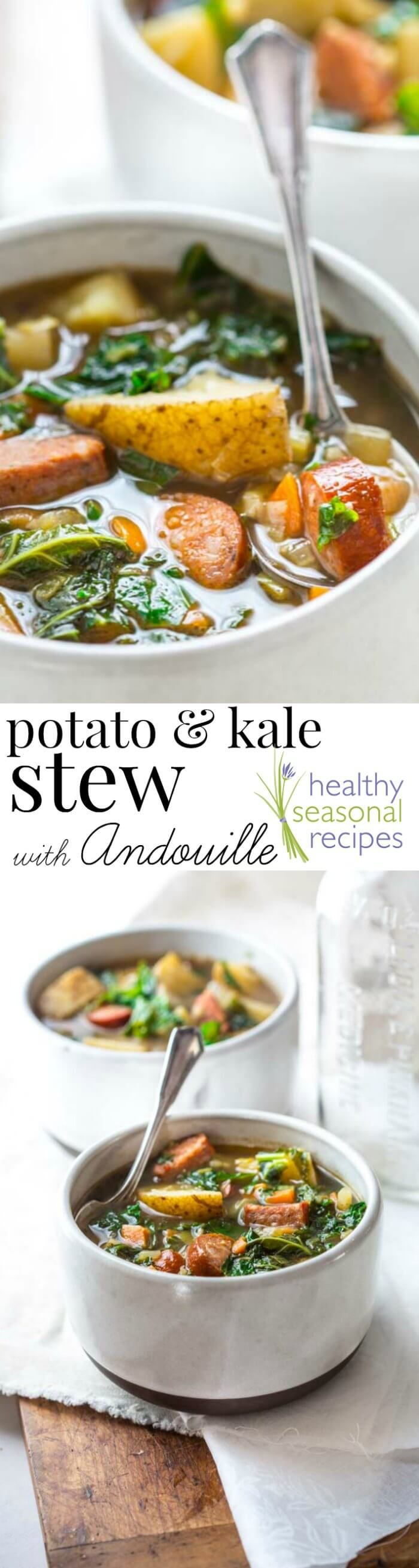 If you're looking for a yummy but healthy Potato and Sausage Soup then, you'll love this Potato and Kale Soup with Andouille Sausage! It's naturally gluten-free, ready in 45 minutes and only 260 calories per serving! Healthy Seasonal Recipes by Katie Webster