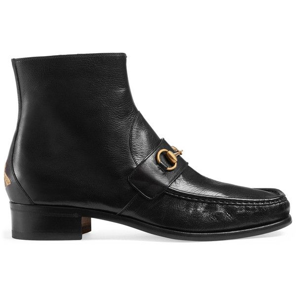 Gucci Horsebit Leather Boot (45,715 PHP) ❤ liked on Polyvore featuring men's fashion, men's shoes, men's boots, dad shoes, boots, men, shoes, gucci mens boots, mens black leather shoes and mens black leather boots