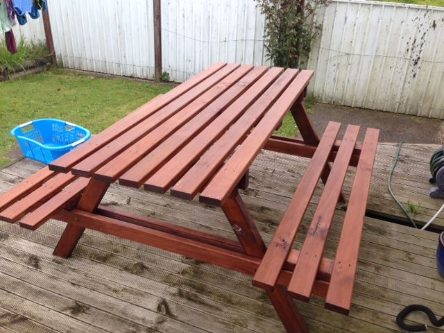 Stained BBQ table for sister and boyfriend...1.8m x 1.2m...Xmas 2012 pressie