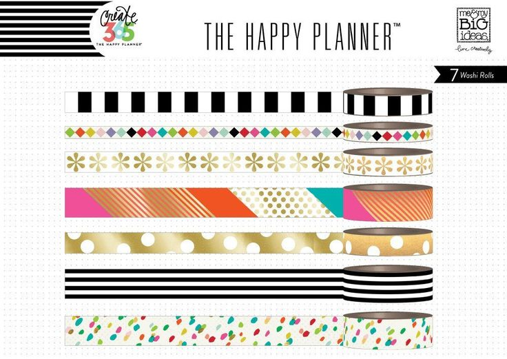 Bright Washi Tape Set (7 rolls) Me & My Big Ideas® Create 365 Happy Planner