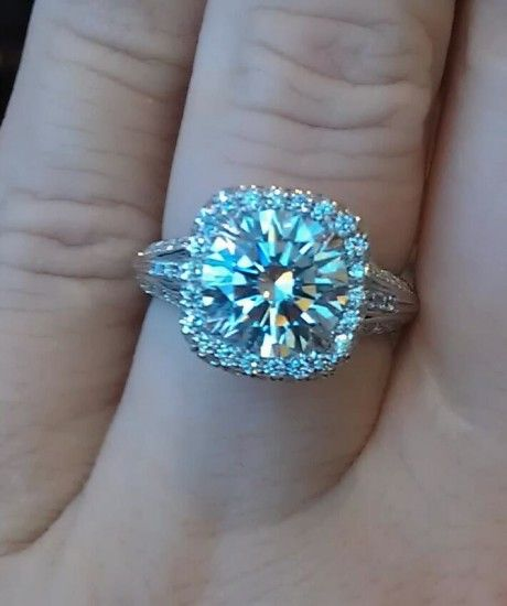 Custom ring made by Christopher Designs. 2.43 ct. solitaire, GIA J/SI1, Triple E