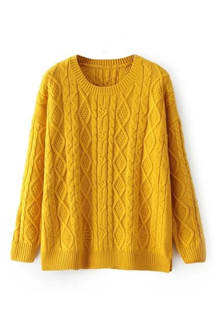 Love this Color! Rhombus Pattern Knitted Yellow Jumper, The Latest Street Fashion #Sunflower #Yellow #Fall