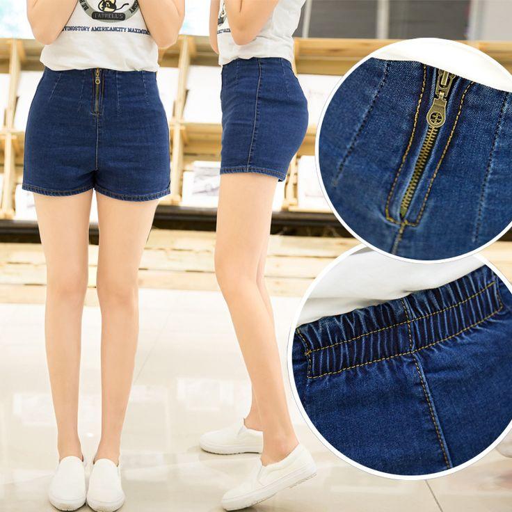 2015 summer new retro high waist denim shorts exposed zipper lager size thin…