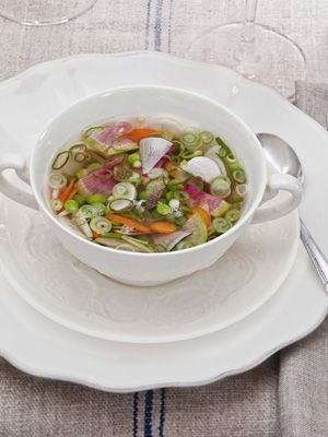 English-Pea Soup Recipe with Radishes & Green Onion.