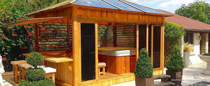 hot tub privacy spa enclosures a collection of diy and. Black Bedroom Furniture Sets. Home Design Ideas