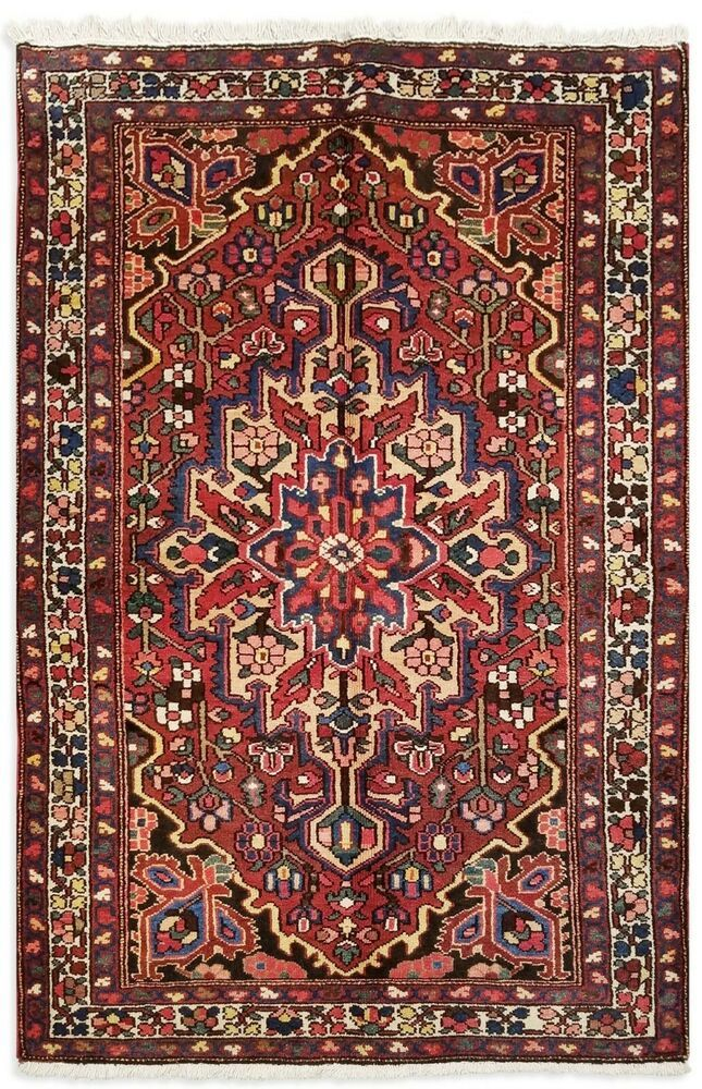 Hand Knotted Oriental Rug Wool Rust Ivory Tribal Bakhtiari Carpet 4 3 X 6 5 Persiantribalgeometric In 2020 Oriental Rug Tribal Geometric Wool Rug