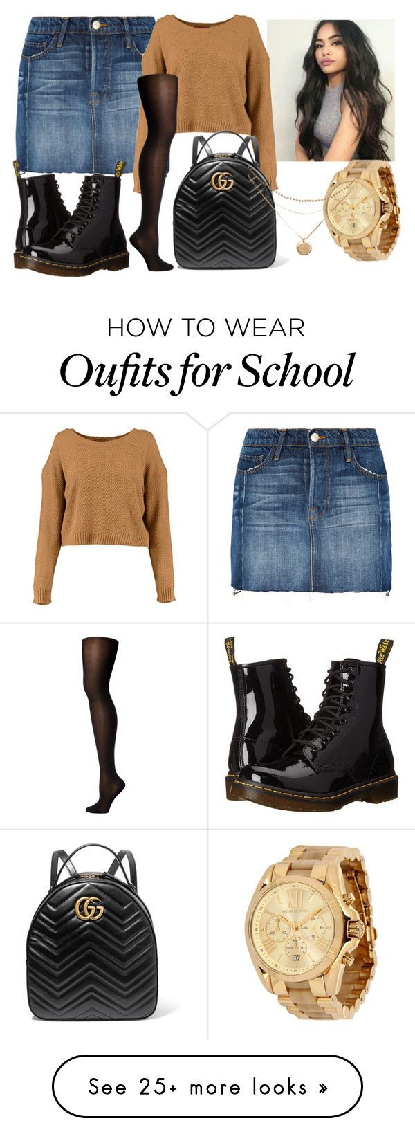 """Back To School "" by shamelessmya on Polyvore featuring Frame, Dr. Martens, Wolford, Michael Kors and Gucci"