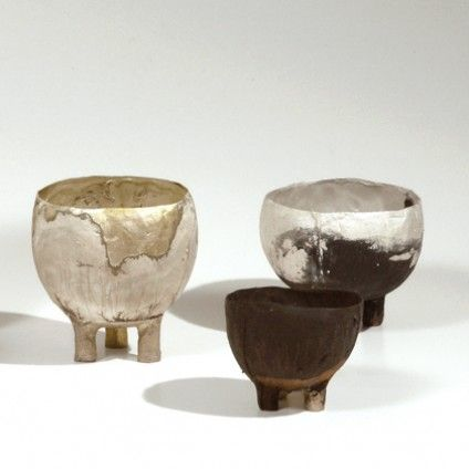 Peter Bauhuis is an expert at pouring molten metals into moulds. Sometimes he uses several metals at once so that patterns occur. His work, ranging from small jewellery pieces to large bowls, has an archaic immediacy about it regarding form, skin and patina.