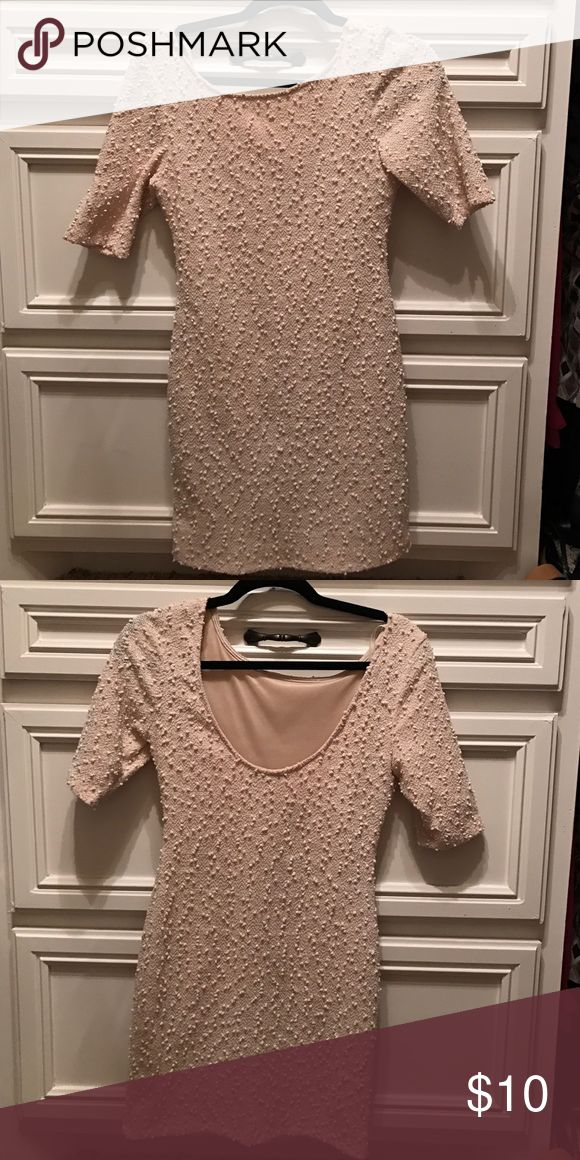 Beige Mini Dress Very Cute pullover dress. Scoop necklace back. Forever 21 Dresses Mini