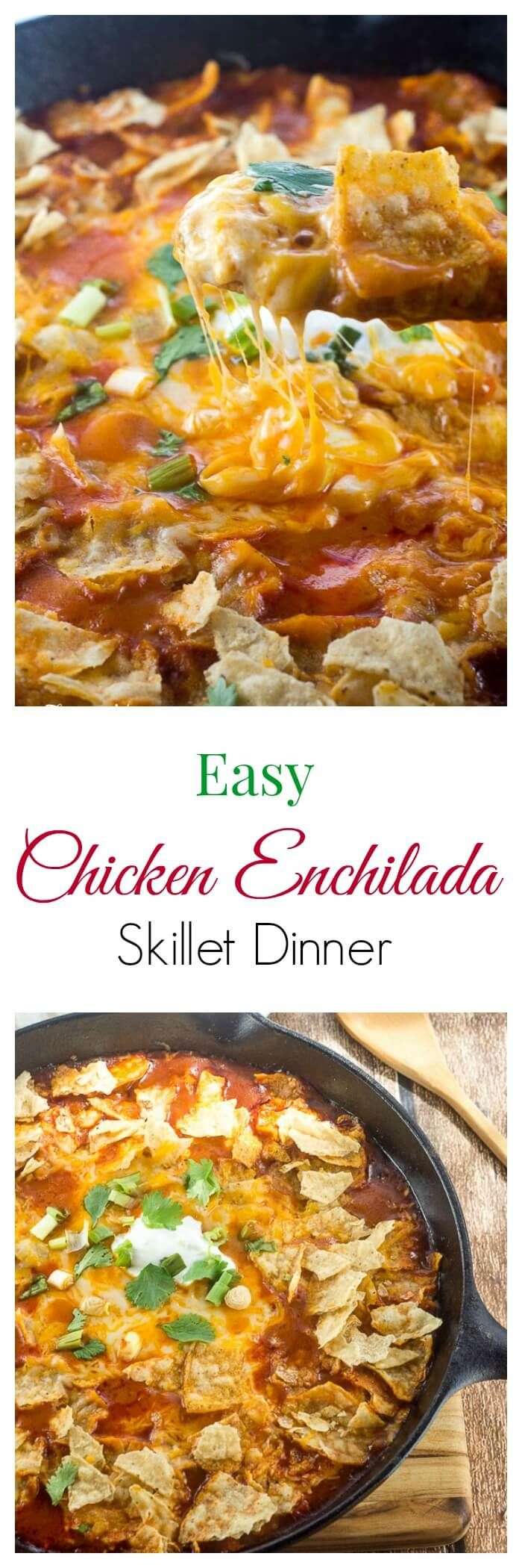 This Easy Chicken Enchilada Skillet Dinner makes a delicious hot and cheesy weeknight meal that can be on the table in under 30 minutes. ~ http://FlavorMosaic.com