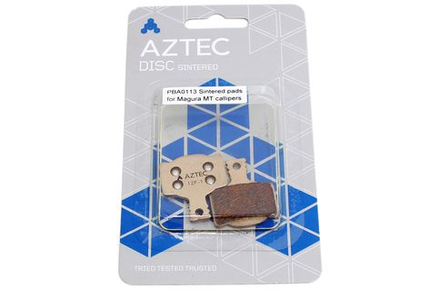 #Aztec Sintered Disc Brake Pads for Magura MT #These are the Aztec Sintered Disc Brake Pads for Magura MT. These are Sintered metal compound replacement disc brake pads for Magura MT Brakes. The brake pads are sintered using together under heat and pressure of metallic particles and in the case of brakes it blends various other elements to enhance friction properties and wear life. Designed and developed for UK riding conditions. Race tested pads giving you the latest braking compound…
