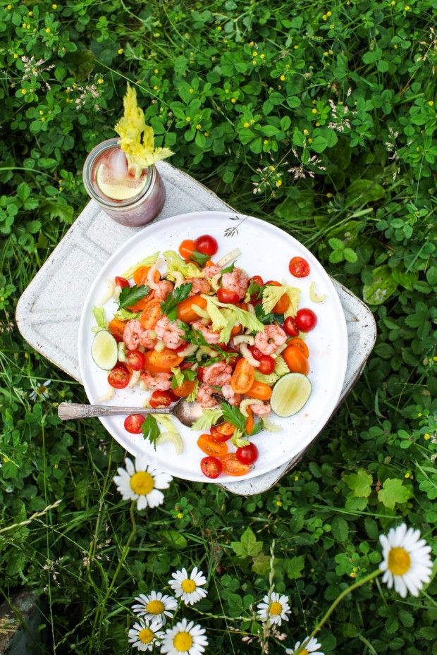 Bloody Caesar Shrimp Salad    Simple Bites #salad #eatseasonal #recipe