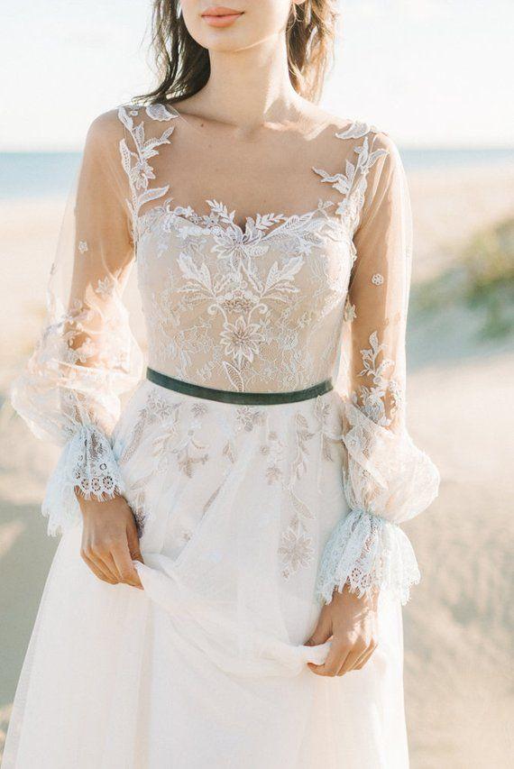 Long Sleeve Lace wedding dress, boho wedding dress, lace wedding dress, open wedding dress, tulle wedding dress, blue wedding dress