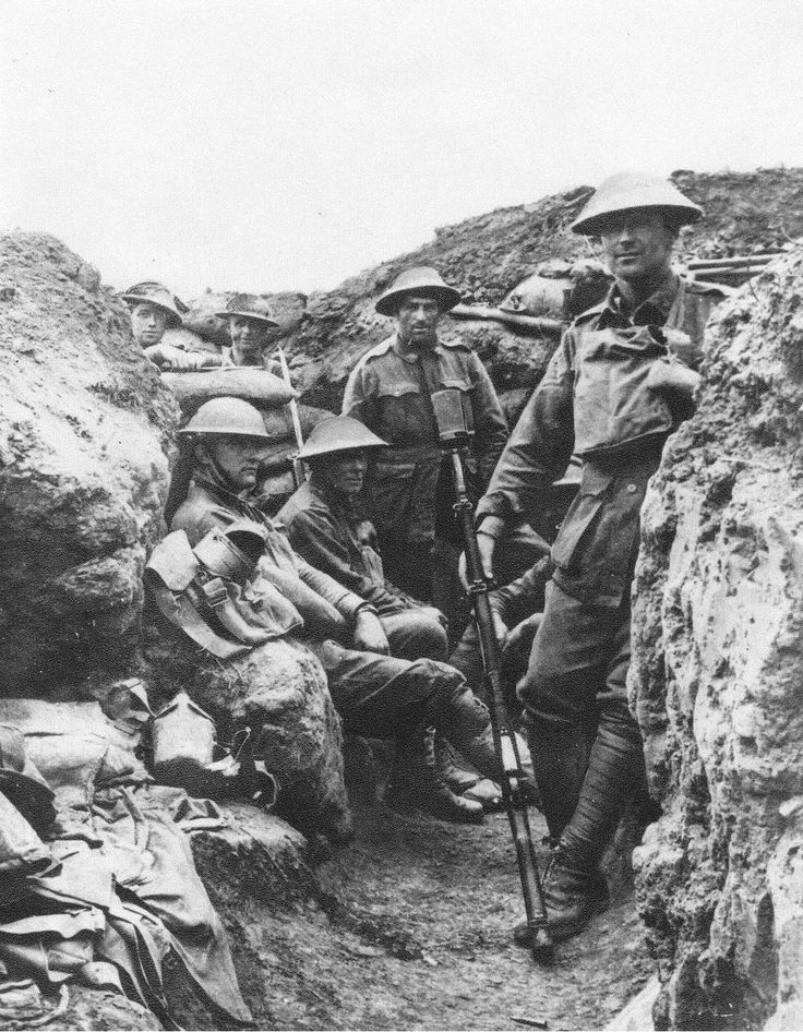 A Group of ANZAC Soldiers Stand in the Trenches During the Battle of the Somme, 1916