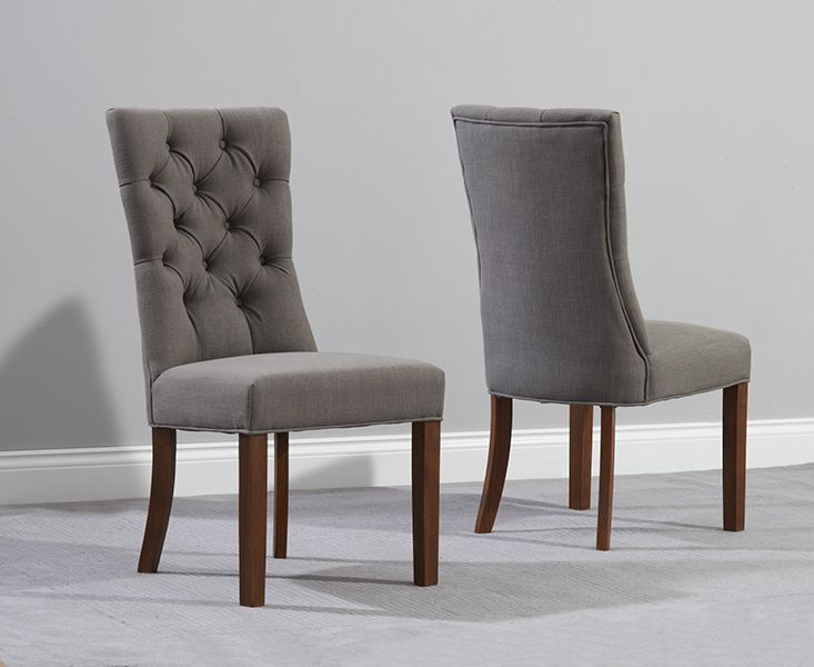 Anais Beige Fabric Dark Dining Chairs.