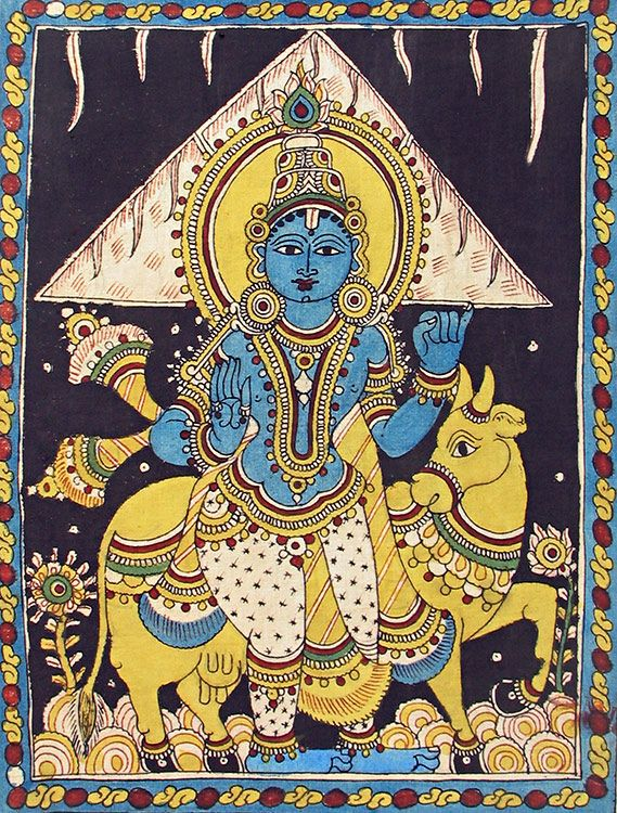 Lord Krishna Lifting Govardhan Mountain - Kalamkari Painting