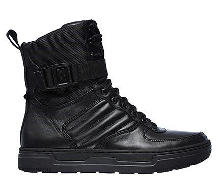 Mark Nason Skechers Men's Sergeant Memory Foam High Top Boots (Black/Black)