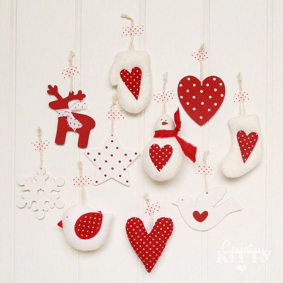 (Scendi con il mouse per la descrizione in italiano - Scroll down for italian translation)    This is a set of 10 handmade Christmas