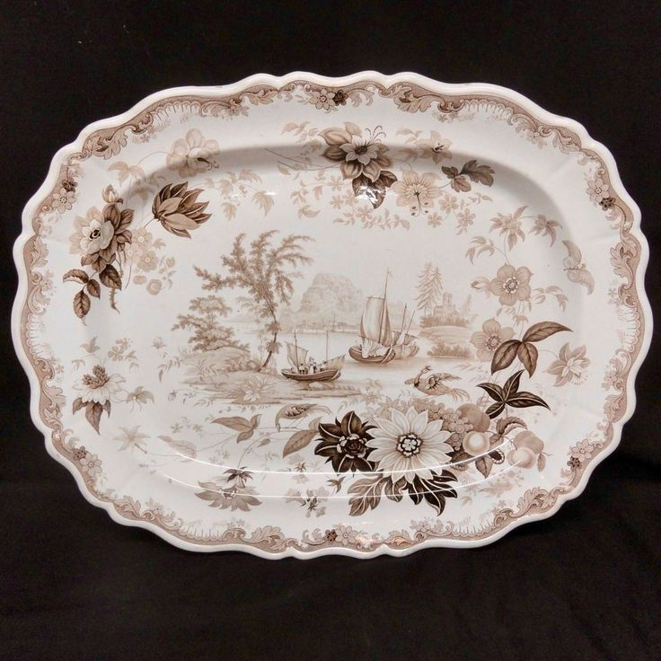 HUGE Staffordshire Brown Transferware Romantic Platter ~ 1830 | Pottery & Glass, Pottery & China, Art Pottery | eBay!