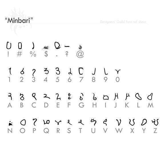 """""""Minbari I"""" fontref + font by Designers-Guild alphabet language painting drawing resource tool how to tutorial instructions 